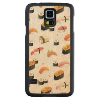 Japanese Food: Sushi Pattern Carved Maple Galaxy S5 Case