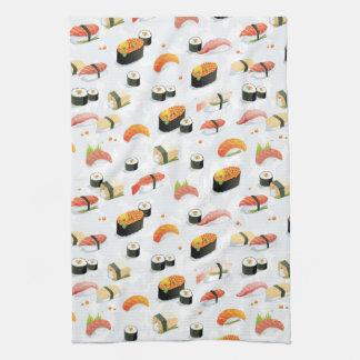 Japanese Food: Sushi Pattern Tea Towel