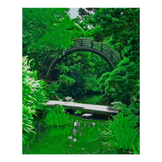 Japanese Garden Bridges photo painting Posters