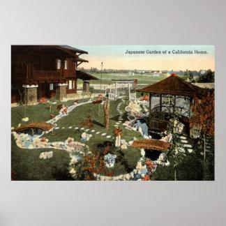Japanese Garden California Home Repro Vintage 1917 Poster