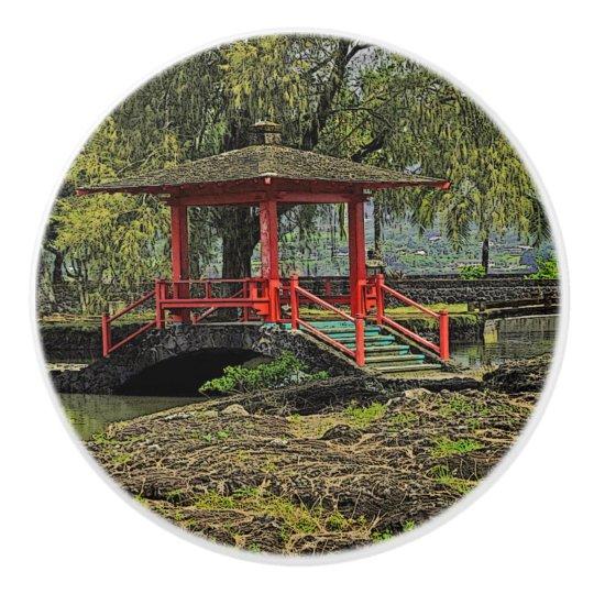 JAPANESE GARDEN CERAMIC KNOB/PULL CERAMIC KNOB
