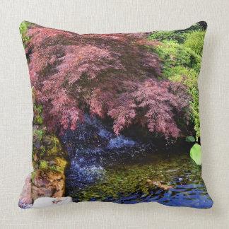 Japanese Garden waterfall Throw Pillow