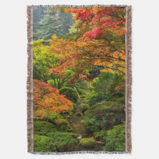 Japanese Gardens In Autumn In Portland, Oregon 2 Throw Blanket