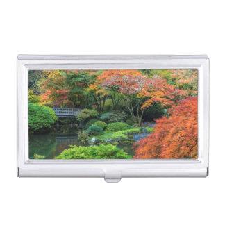 Japanese Gardens In Autumn In Portland, Oregon 3 Business Card Holder