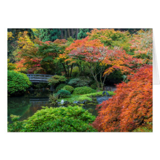 Japanese Gardens In Autumn In Portland, Oregon 3 Card