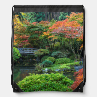 Japanese Gardens In Autumn In Portland, Oregon 3 Drawstring Bag