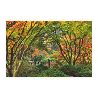 Japanese Gardens In Autumn In Portland, Oregon 4 Gallery Wrapped Canvas