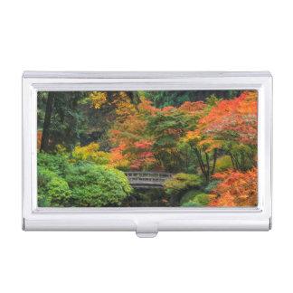 Japanese Gardens In Autumn In Portland, Oregon 5 Business Card Holder