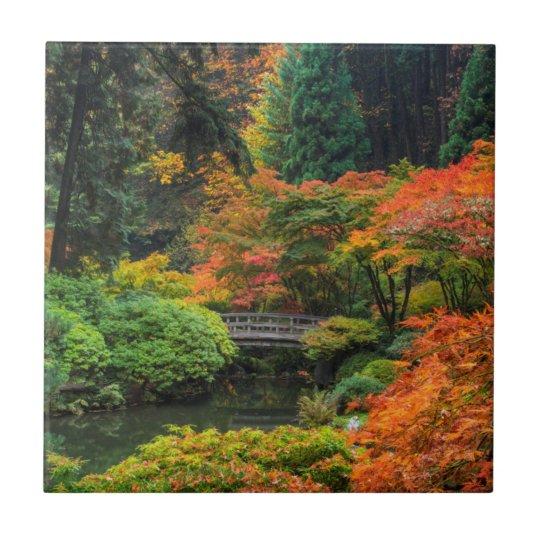Japanese Gardens In Autumn In Portland, Oregon 5 Small Square Tile