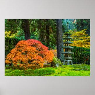 Japanese Gardens In Autumn In Portland, Oregon Poster