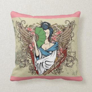 Japanese Geisha Angel Throw Pillow 16 x 16