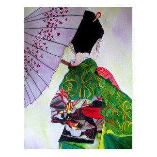 Japanese Geisha art with kimono and umbrella Postcard
