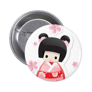 Japanese Geisha Doll - buns series button