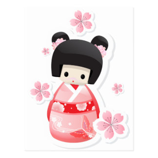 Japanese Geisha Doll - buns series Postcard