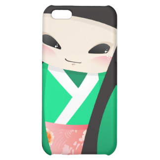 Japanese Geisha Doll -green closeup iPhone 4  Case iPhone 5C Cases