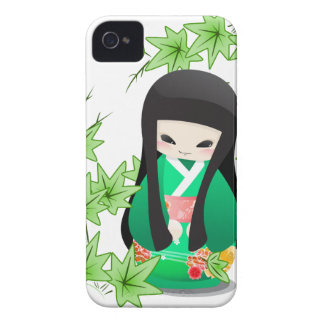 Japanese Geisha Doll - green series iPhone 4 Case-Mate Case