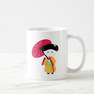 Japanese Geisha Girl Basic White Mug