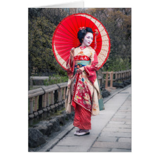 Japanese Geisha in Kyoto Greeting Card