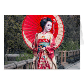 Japanese Geisha in Kyoto Card