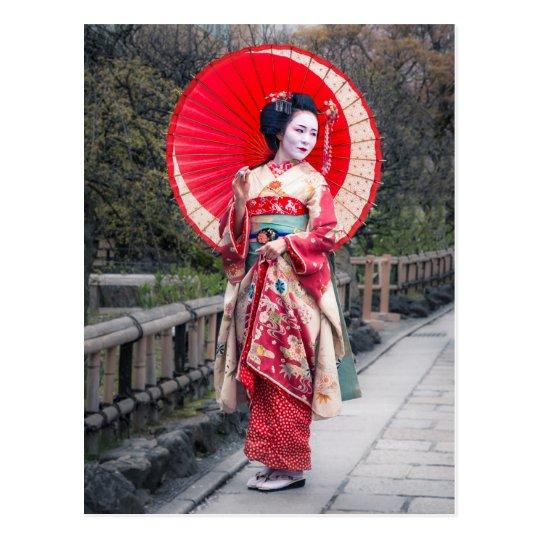 Japanese Geisha in Kyoto Postcard