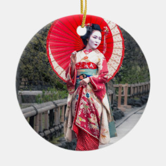 Japanese Geisha in Kyoto Round Ceramic Decoration