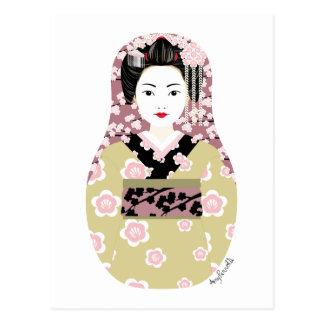 Japanese Geisha Matryoshka Postcard