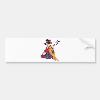 Japanese Geisha Playing a Shamisen Instrument Bumper Sticker