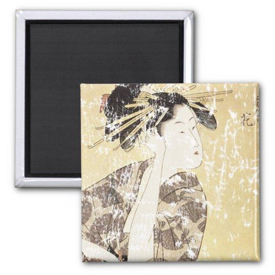 Japanese Geisha Square Magnet