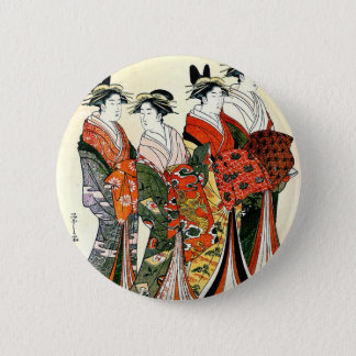 JAPANESE GEISHA VINTAGE ART 6 CM ROUND BADGE