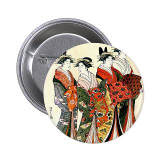 JAPANESE GEISHA VINTAGE ART 6 CM ROUND BADGE