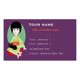 Japanese girl and cat pack of standard business cards