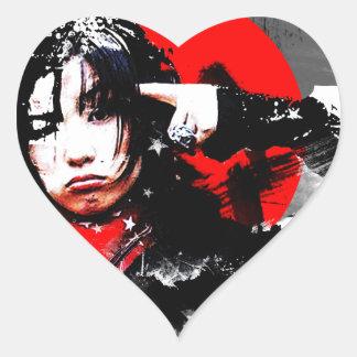 Japanese girl goth heart sticker
