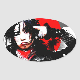 Japanese girl goth oval sticker