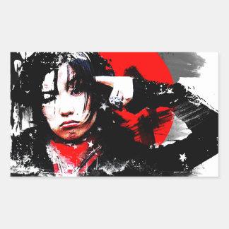Japanese girl goth rectangular sticker