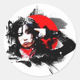 Japanese girl goth round sticker