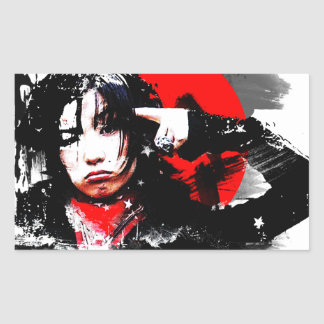 Japanese girl goth rectangular sticker