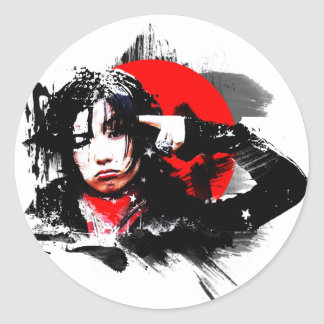 Japanese girl goth round sticker