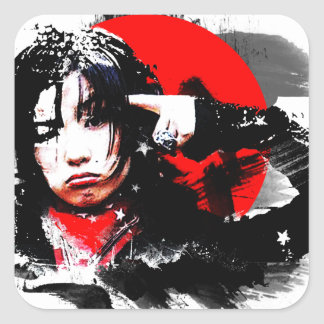 Japanese girl goth square sticker