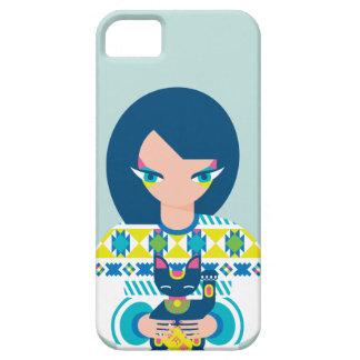 Japanese Girl Holding Maneki Neko iPhone 5 Case