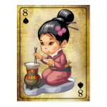 Japanese girl in kimono cooking rice postcard