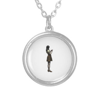 Japanese girl ink drawing round pendant necklace