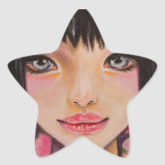Japanese girl with blue eyes star stickers