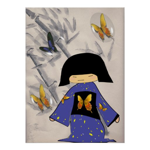 Japanese Girl with Butterfly Bubbles Poster