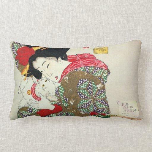 Japanese girl with Cat, Tsukioka Yoshitoshi Throw Pillow