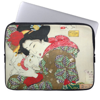 Japanese girl with Cat, Tsukioka Yoshitoshi Laptop Sleeve