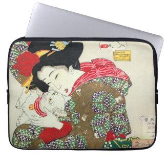Japanese girl with Cat, Tsukioka Yoshitoshi Laptop Sleeves