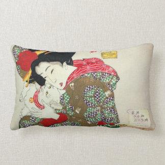 Japanese girl with Cat, Tsukioka Yoshitoshi Lumbar Pillow