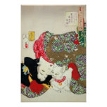 Japanese girl with Cat, Tsukioka Yoshitoshi Poster