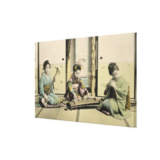 Japanese girls playing the flute, 'koto' and samis gallery wrap canvas