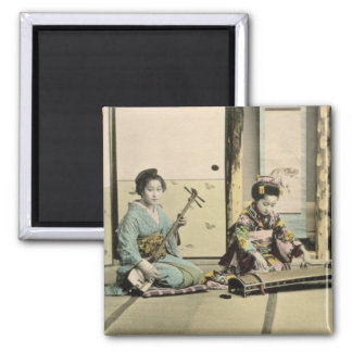 Japanese girls playing the flute, 'koto' and samis magnets